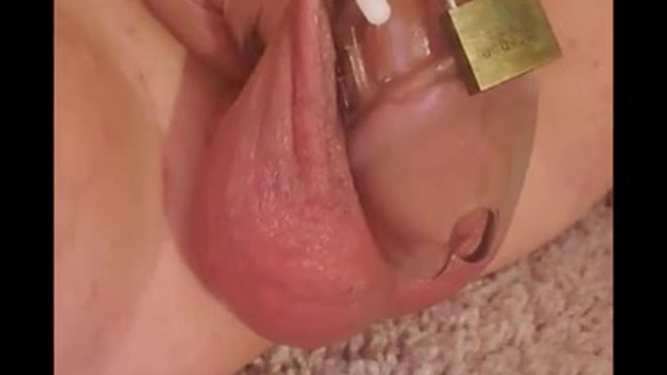 Mistress busts balls in chastity and ruins orgasm (no audio)