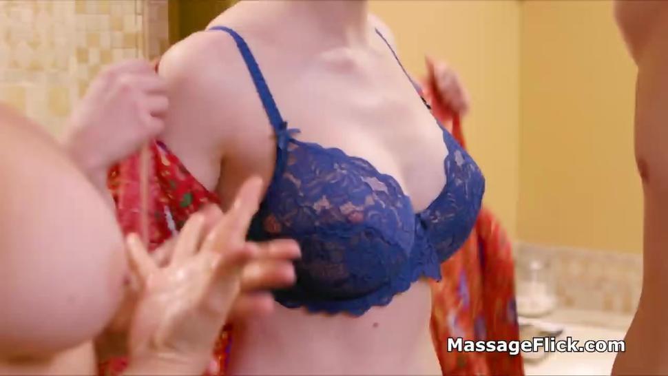 Oily threesome massage with big tit gf and MILF masseuse