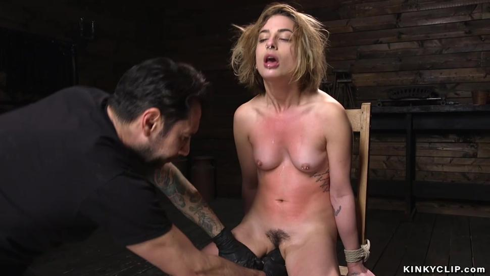 Master fucks blonde with balls and cock