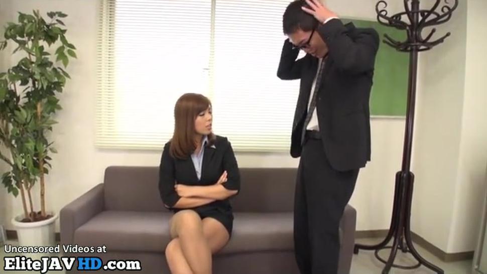 Jav busty Milf in stockings helps shy guy to cum