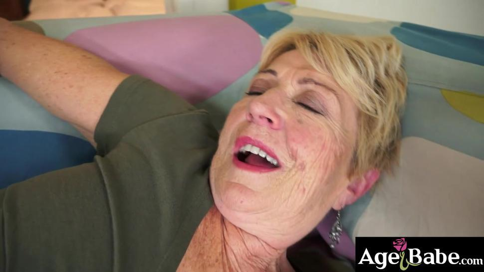 Golden aged Malya let young Rob in her gray haired pussy