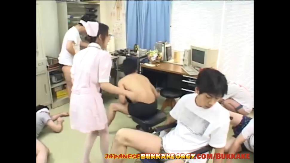 16 cumshots for cute Japanese Nurse - Japanese Bukkake Orgy - JapaneseBukkakeOrgy