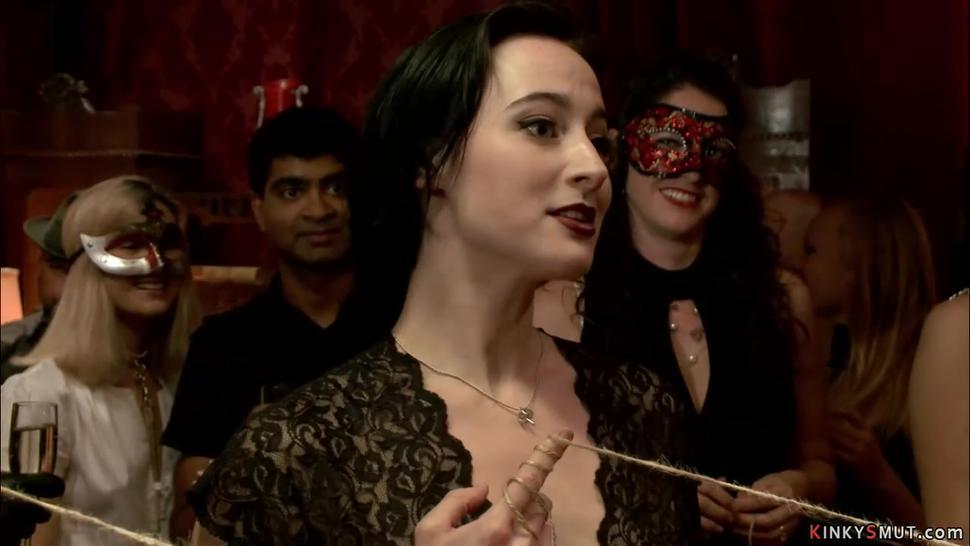 BDSM orgy party and horny slaves