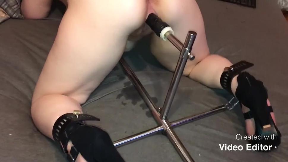 Teen girl in high heels tied up, screw herself in both Hole