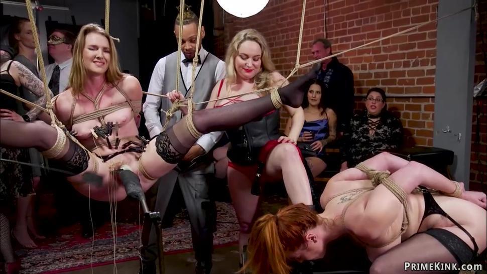 Slaves at interracial anal bdsm party