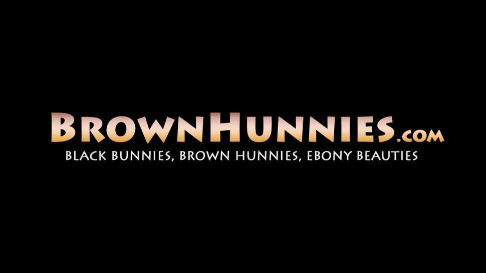 BROWN HUNNIES - Bubble butt ebony Ms Cleo oiled up and missionary drilled
