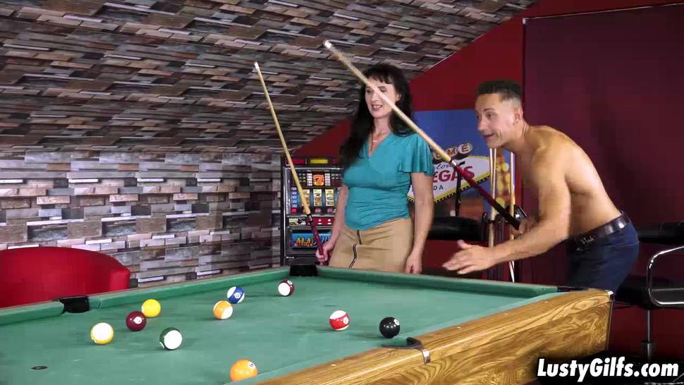 Horny mature woman wants more than just playing pool