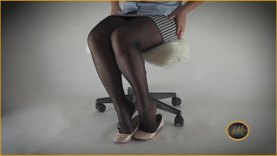 Sexy secretary ripping nylon stockings into ballet flats