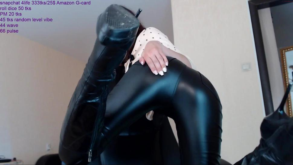 Hot Sexy Cam Girl in Leather leggings latex shiny pvc