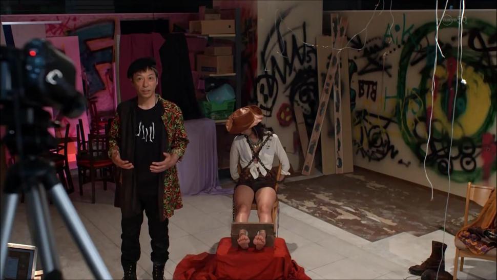 feet stocks scene from japanese TV series