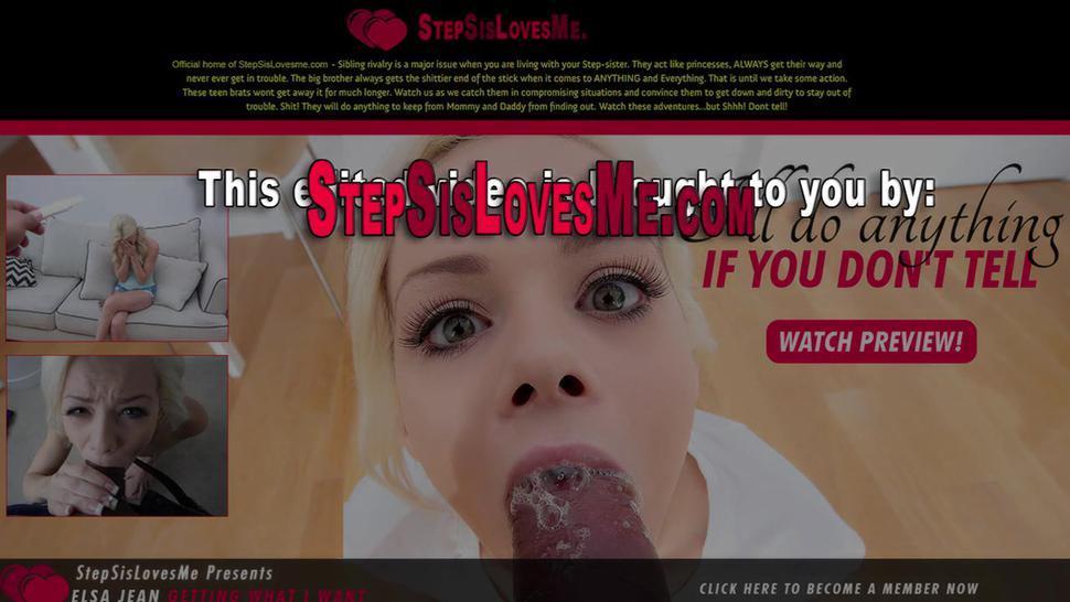 Stepsister gets jizzed after sucking