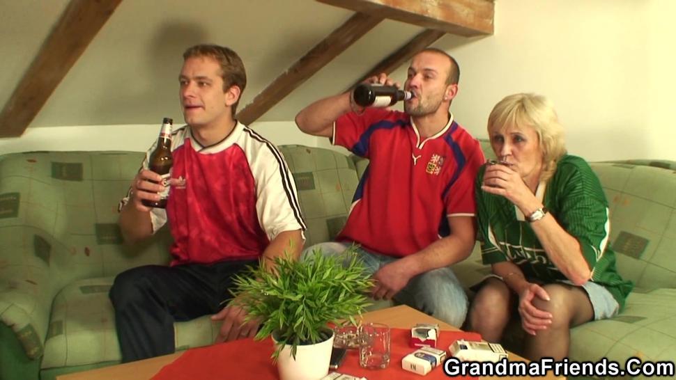 GRANDMA FRIENDS - Very old blonde grandmother swallows 2 cocks