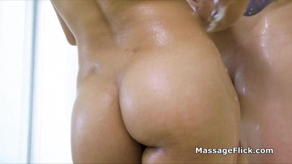 Latina masseuse milks big cock then fucks