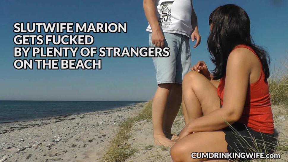 CUMDRINKINGWIFE - Slutwife Marion bareback gangbang on the beach in Summer 2016
