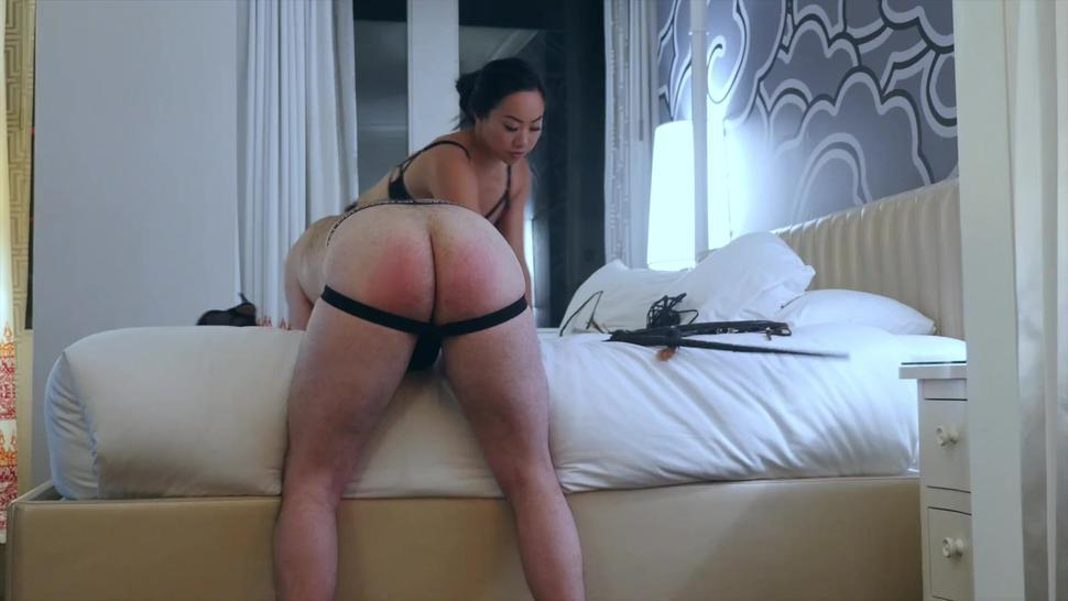 Sexy Asian Dominatrix Trucici whips the asshole of her slave in Only Fans custom vid