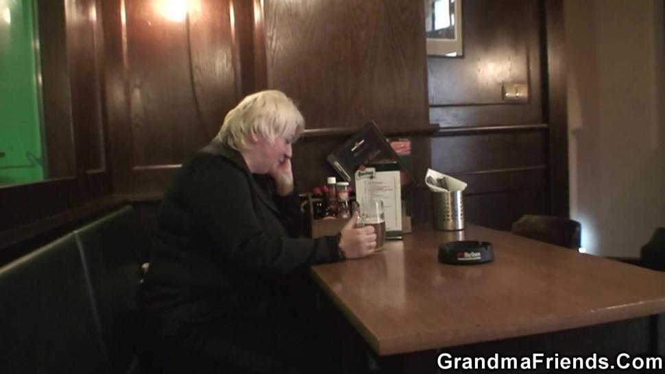 GRANDMA FRIENDS - Two dudes pick up busty boozed blonde grandma