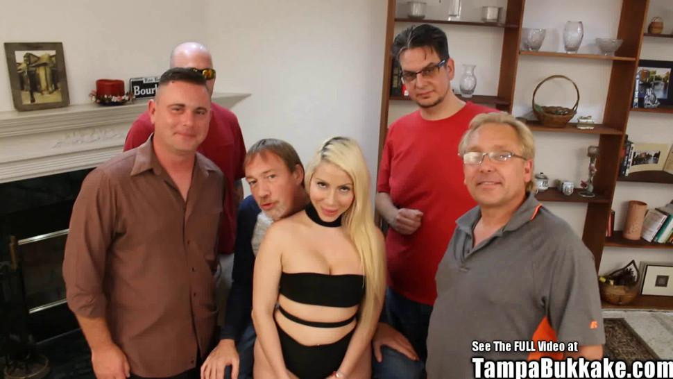 TAMPA BUKKAKE - Big Tits Blonde Russian Bride Gangbang Fuck Party