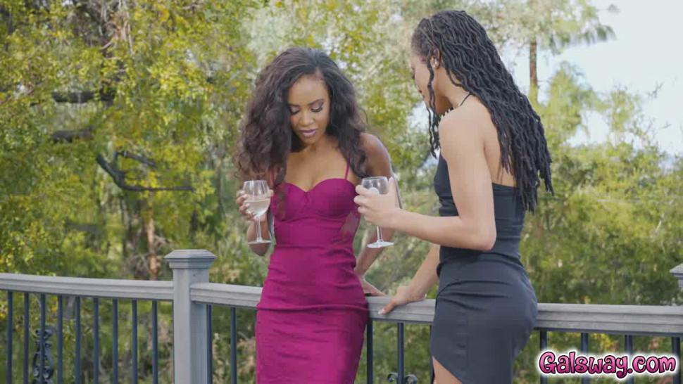 College ebony girls Kira Noir and Demi Sutra cant help but to flirt with one another
