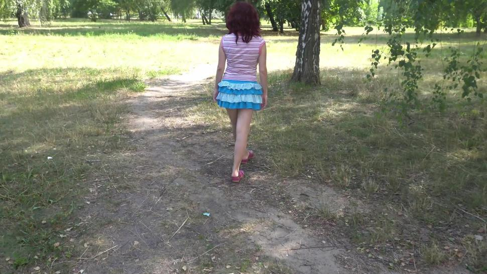 Sexy girl walk topless in public park and almost get caught, upskirt nopanties