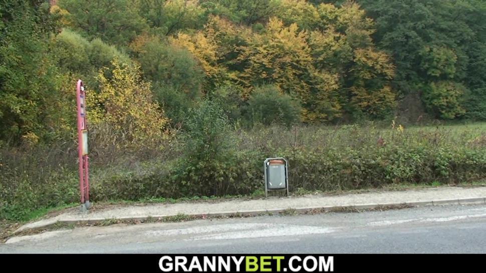 GRANNYBET - He picks up 70 yo old blonde granny for sex