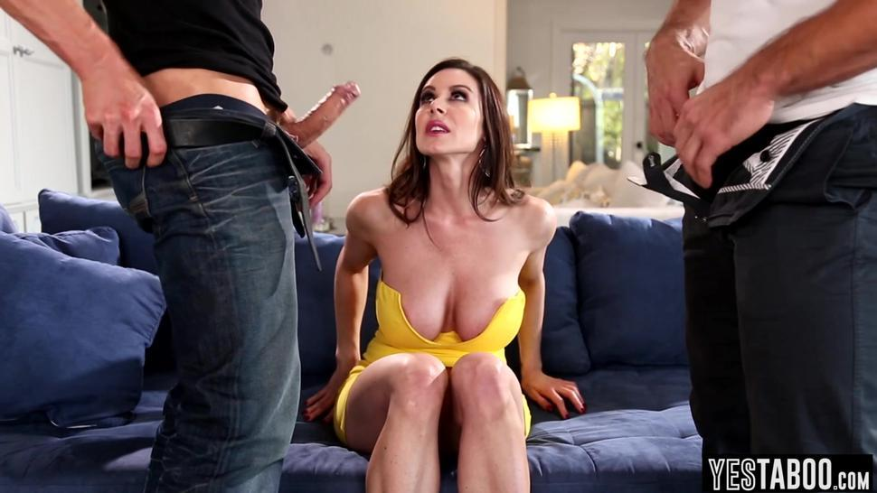 Busty wife Kendra Lust gets fucked by two lucky repoman