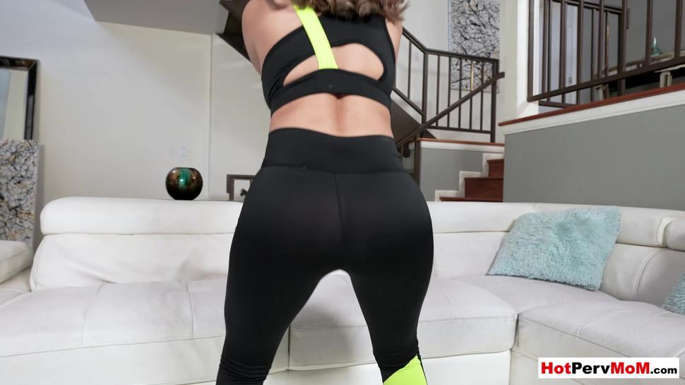 Busty MILF stepmother doing her workout on stepsons big cock