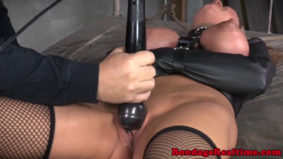 Breast bondage sub sucks dick