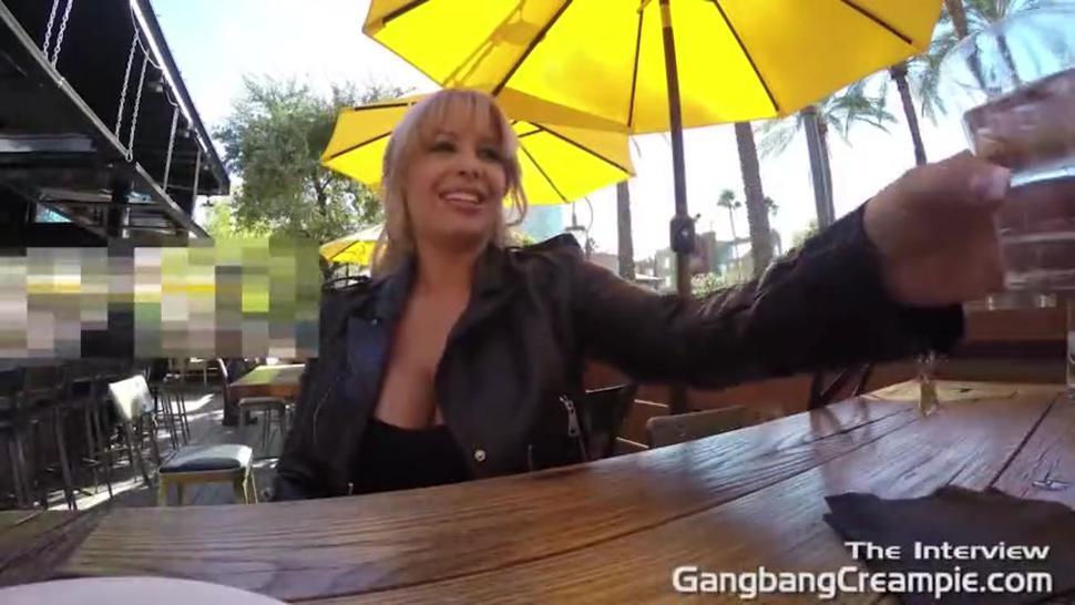 Gangbang Creampie hot blonde gets 5 guy creampie