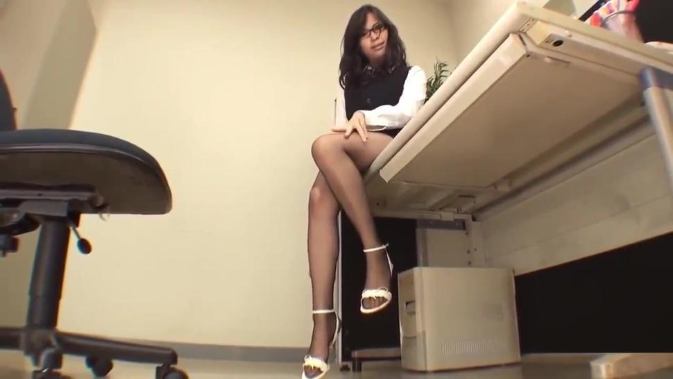 Three Japanese woman, shiny pantyhose tease