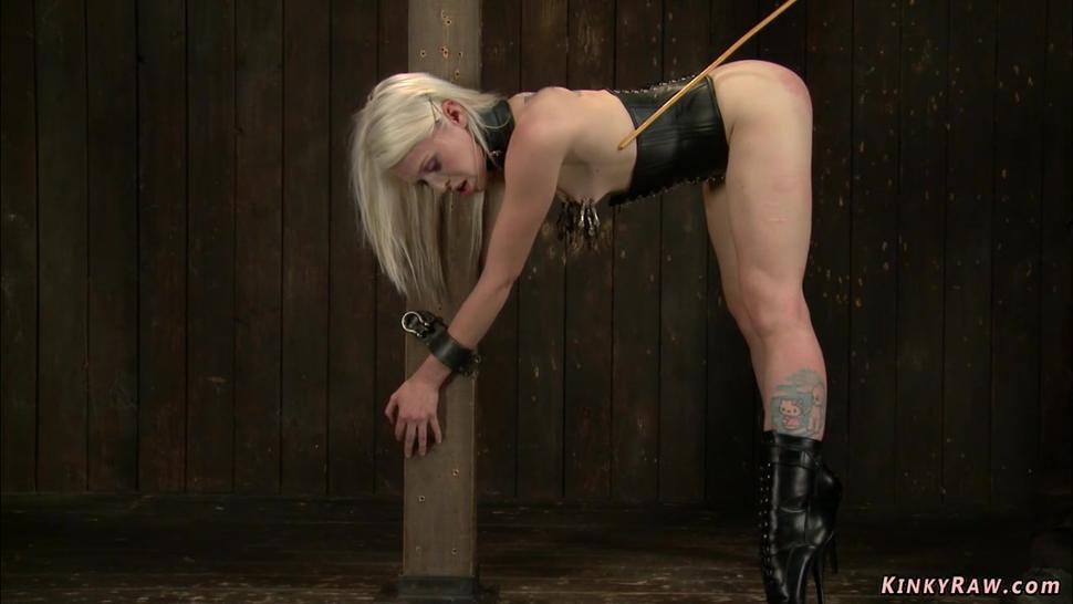 Bound bent over blonde gets caned