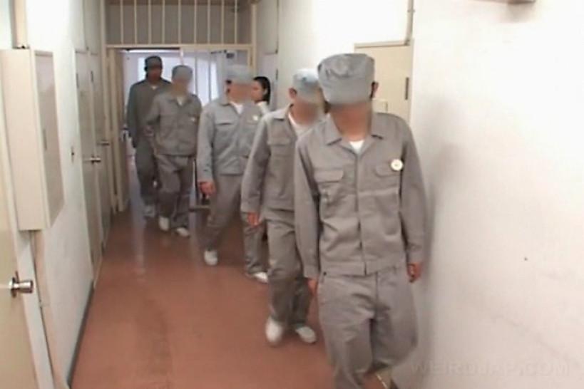 Asian jail gangbang with police women rubbing hard cocks