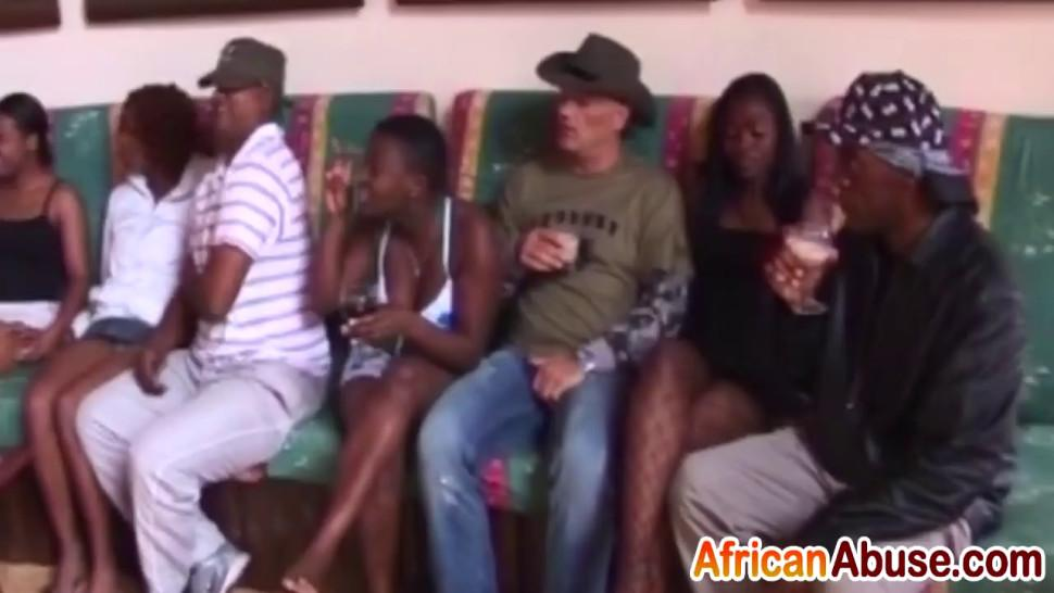African chicks sucking hard dicks and getting pussies drilled during hot party