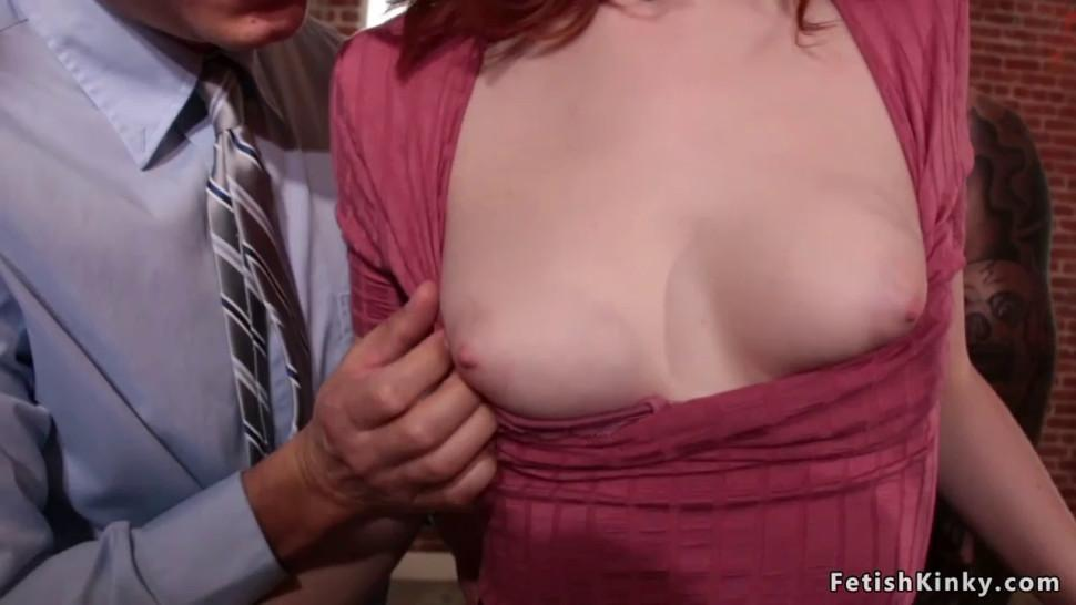 Redhead finished in bdsm orgy