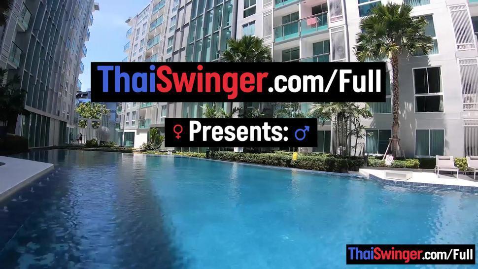 THAI SWINGER - Big ass amateur Thai girlfriend horny hotel blowjob and doggy fucking