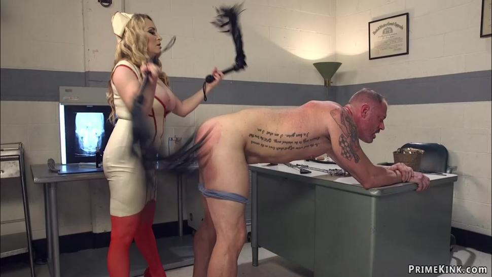 Femdom MILF nurse pegging man