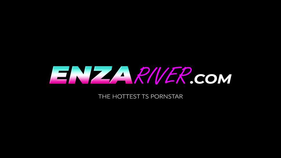 ENZA RIVER - Hot tranny River Enza whipped and dildo drilled by cis babe