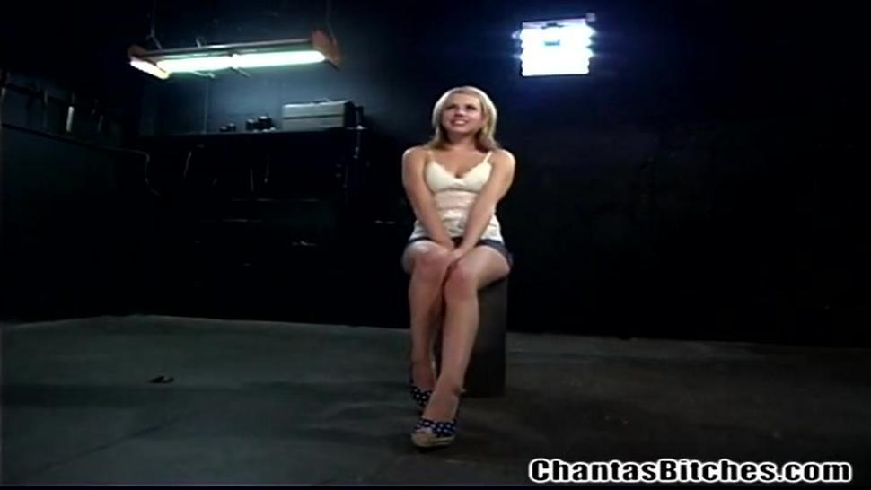 Blonde girl dominated by a hot bitch
