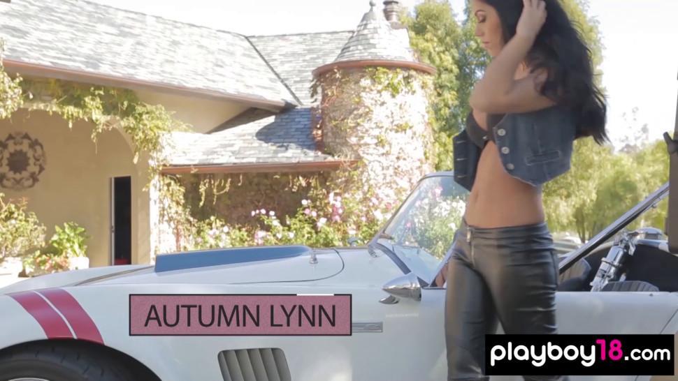 Autumn Lynn stripping nude by a vintage sports car