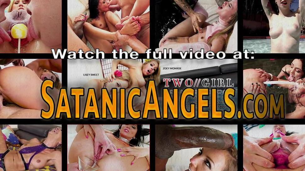 EVIL ANGEL - Brunette babe gets cum in mouth in threesome