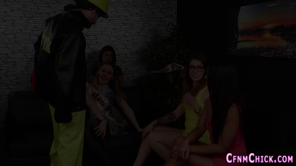 Clothed CFNM Bachelorettes Tugging