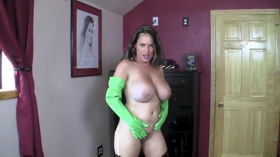 Sexy bitch in boots and gloves sucking dick