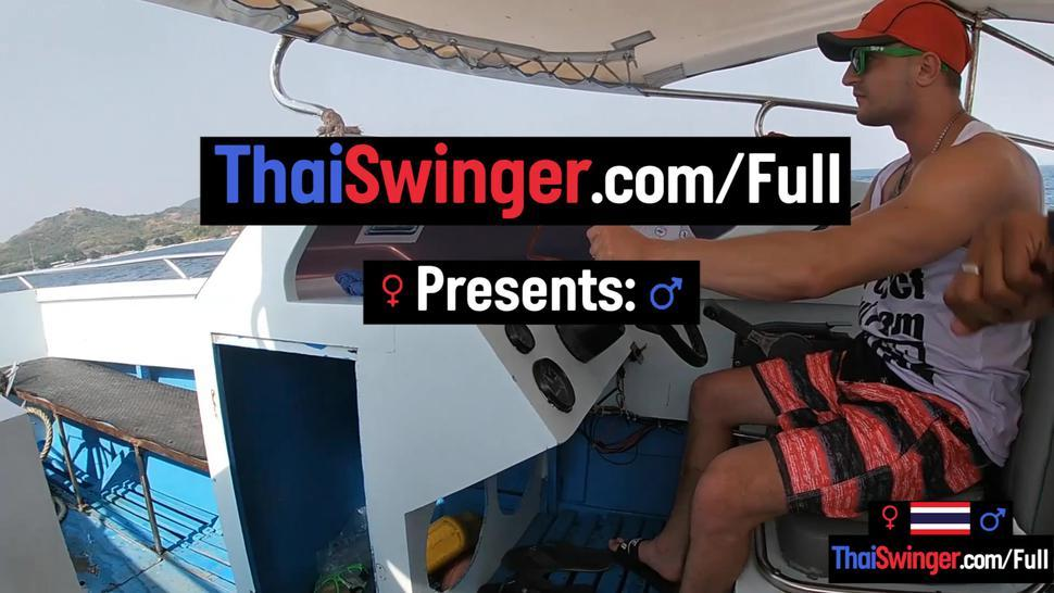 THAI SWINGER - Rented a boat for a day and had sex on it with his Asian teen girlfriend