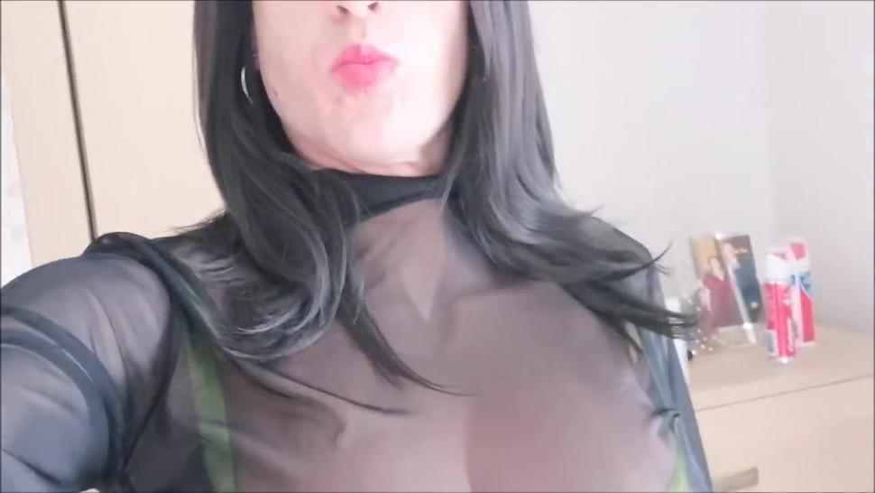 Busty CD TV Sheer Transparent Top Neon Green Lingerie Skirt Strip