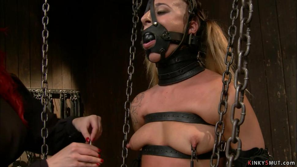 Hot lesbian slave fisted and whipped
