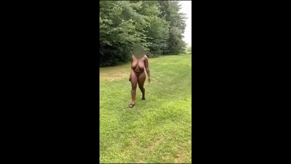 Thick black chick hiking in the nude