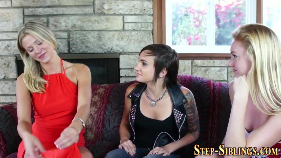 Lesbian stepsisters licking and fingering