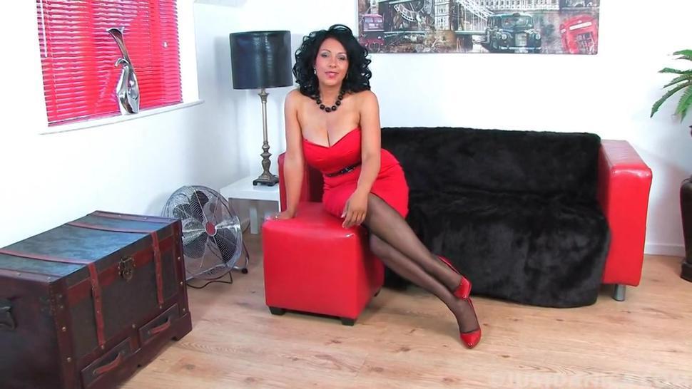 Danica Red masturbating in Heels and Black Stockings