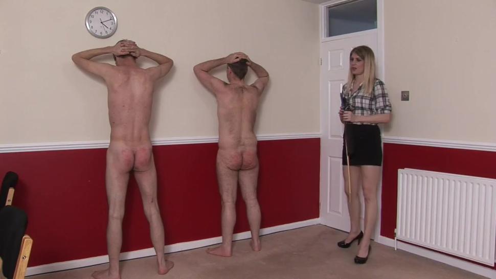 sex girl enjoys spanking two men