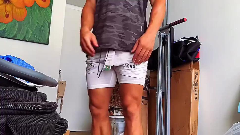Fit jock boy caught trying on sexy new workout clothes