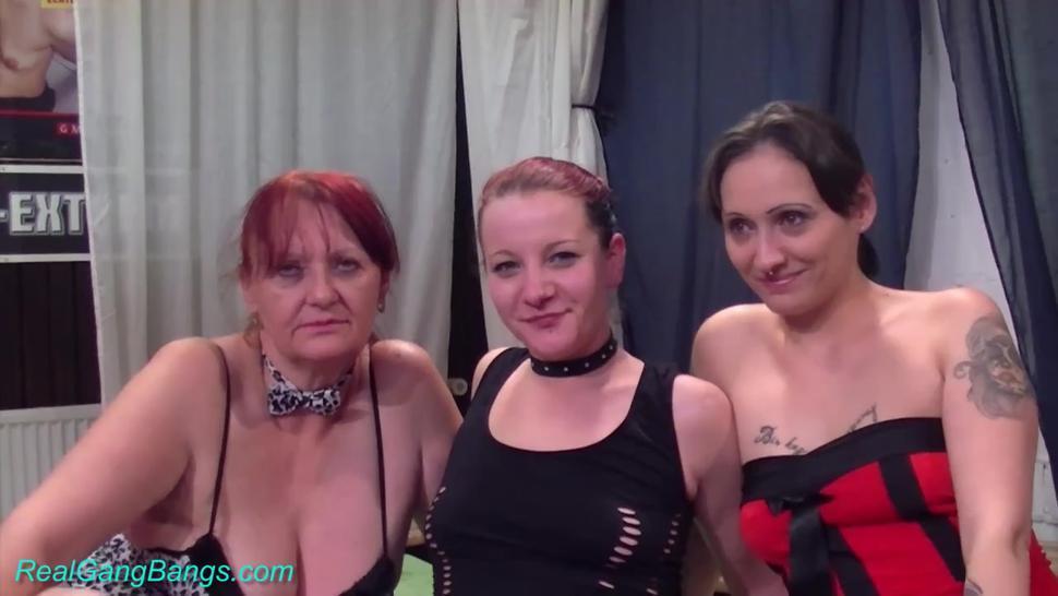 Real Gang Bangs - Three chicks in real gangbang orgy